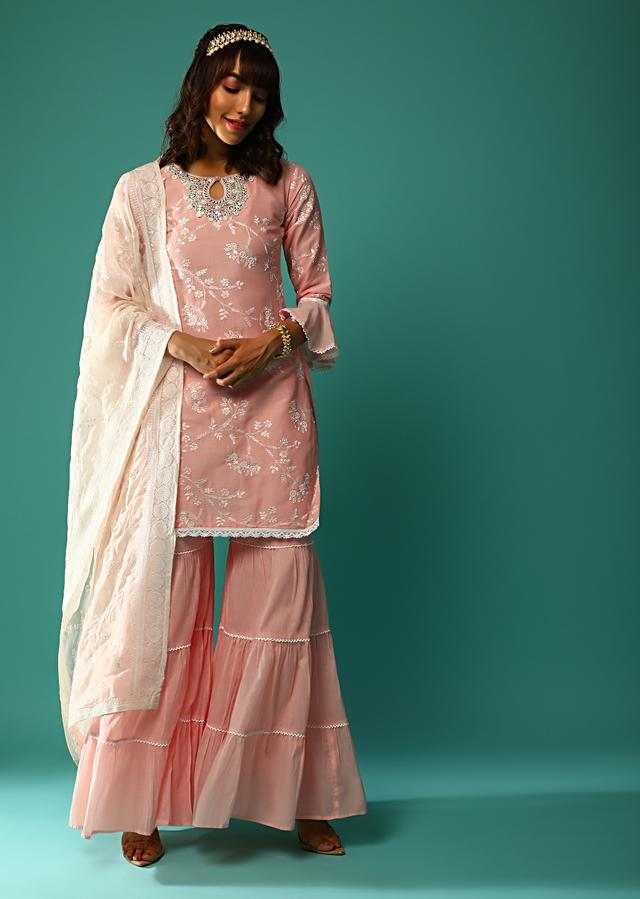 Salmon Pink Sharara Suit In Cotton With Resham Embroidered Floral Jaal And Ruffle Sleeve Detailing Online - Kalki Fashion