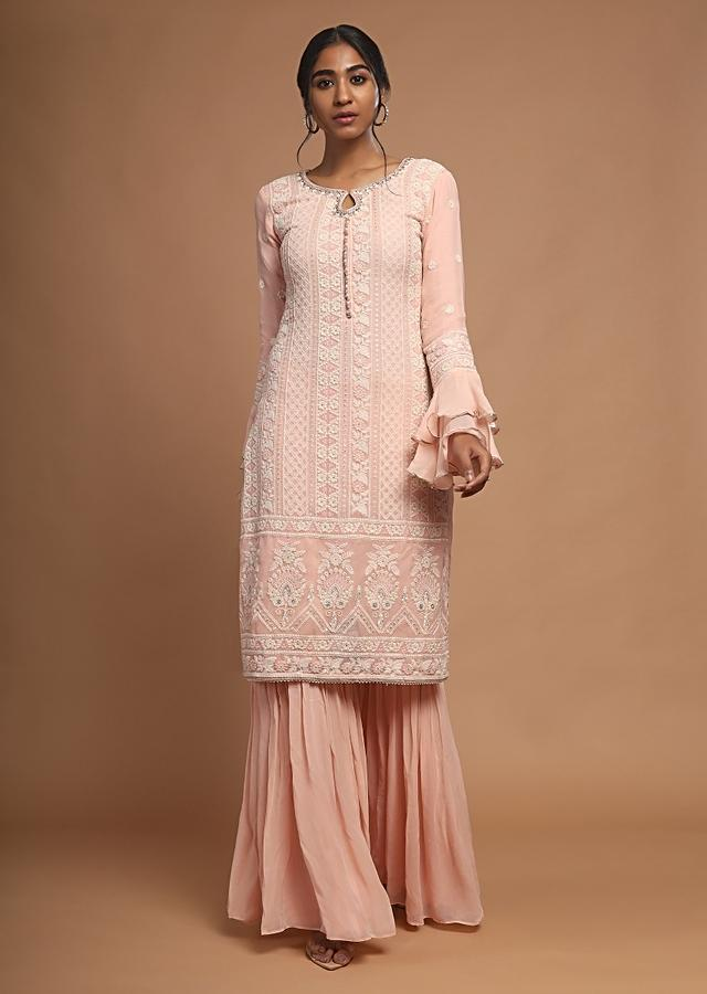 Salmon Pink Sharara Suit With Lucknowi Thread Embroidery And Ruffle Sleeves Online - Kalki Fashion