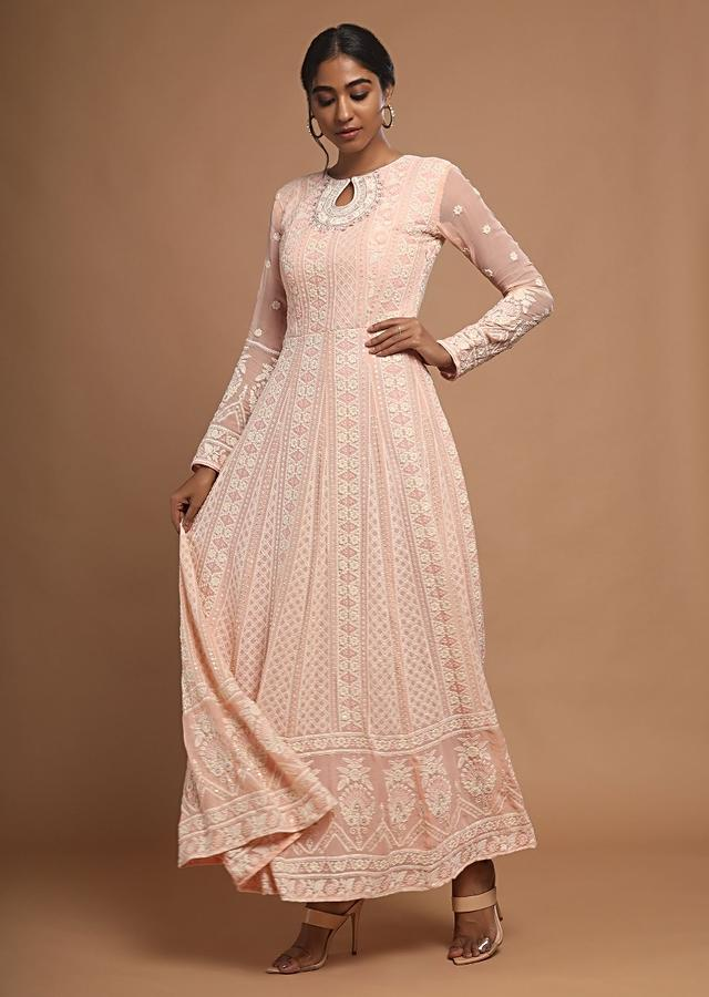 Salmon Pink Anarkali Suit With Lucknowi Thread Embroidered Ethnic Kalis Online - Kalki Fashion