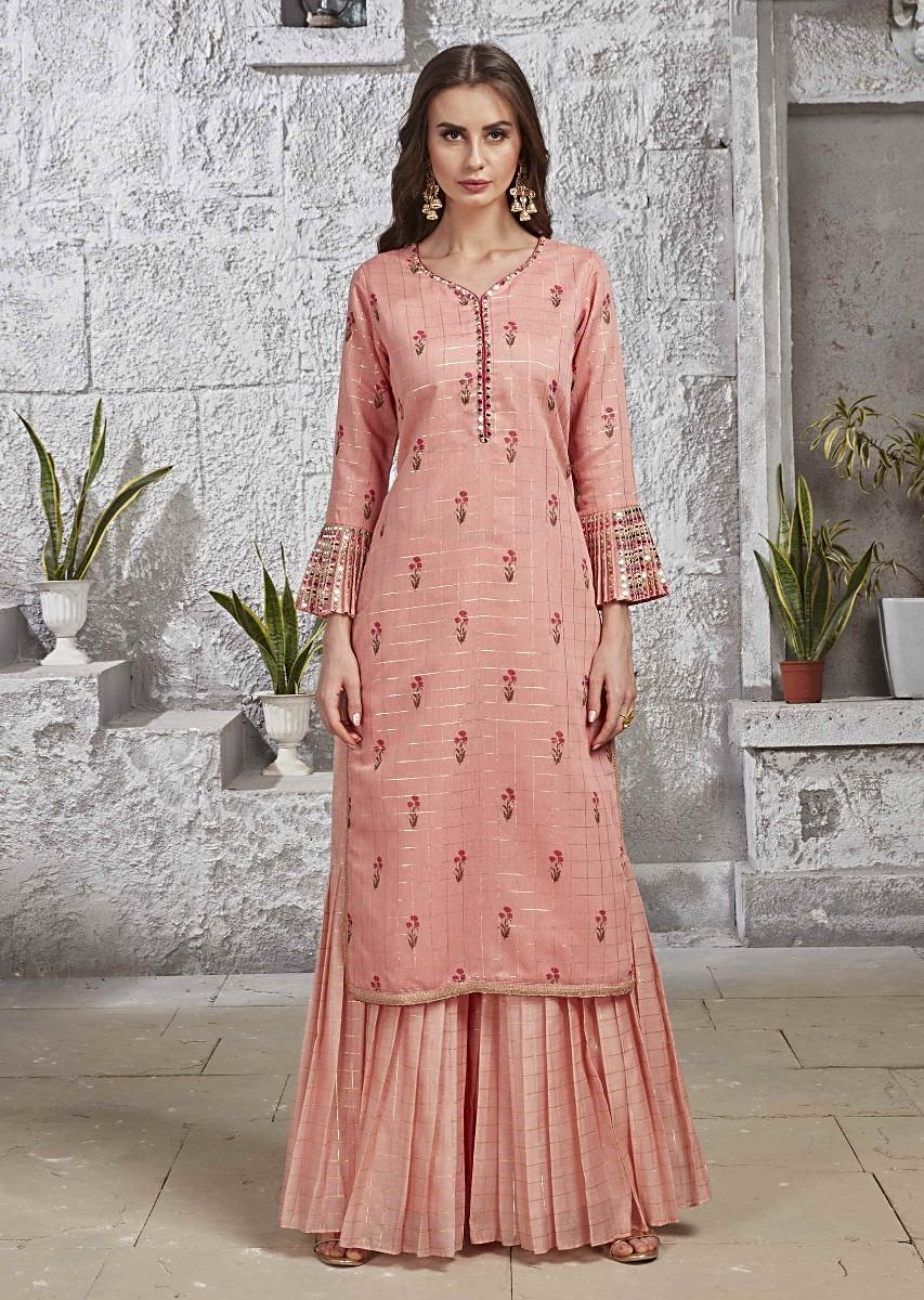 77ef6ba52a21b Salmon Pink Suit In Silk With Pleated Sharara Pants Online - Kalki Fashion
