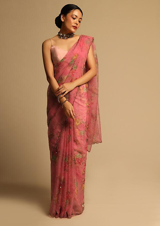 Salmon Red Saree In Organza With Floral Print All Over And Scalloped Resham Border Along With Unstitched Blouse Online - Kalki Fashion