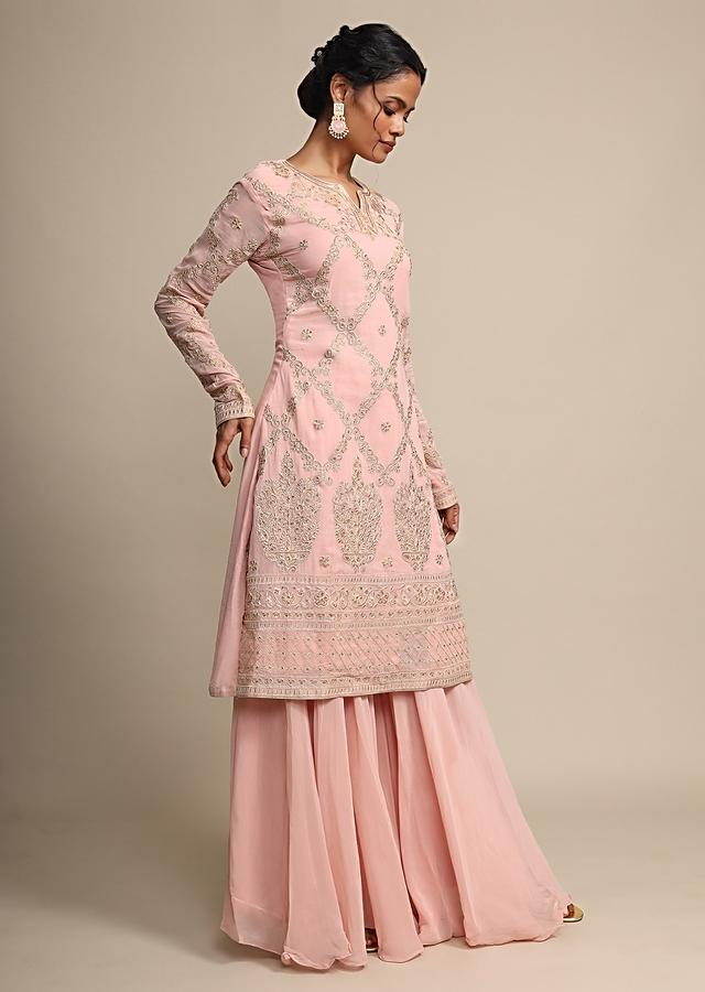 Salmon Pink Palazzo Suit With Resham And Kundan Embroidery Online - Kalki Fashion