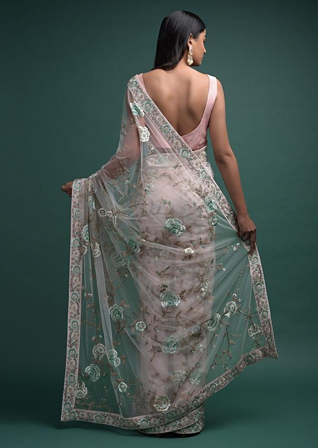 Salt Pink Saree In Net With Resham And Beads Embroidered Floral Jaal And Buttis Online - Kalki Fashion