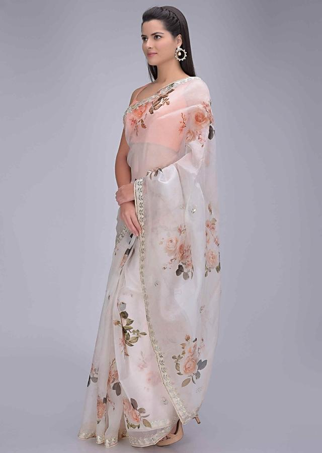 Salt White Organza Saree With Floral Print And Embellished Border Online - Kalki Fashion