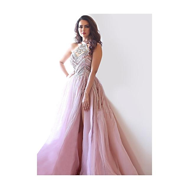 Sana Khan in Kalki mauve pink body suit style embroidered flared net gown with side slit