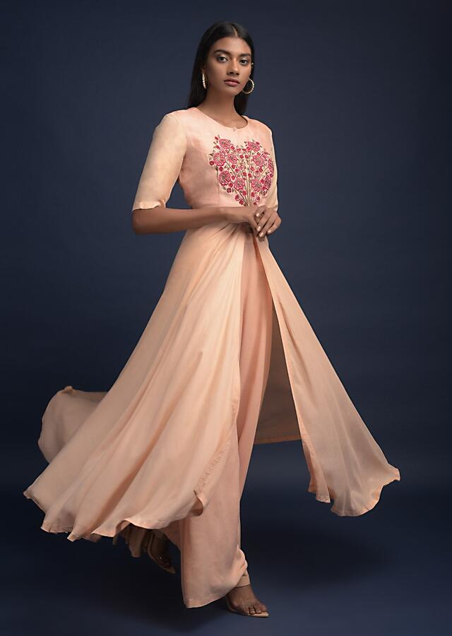 Sand Beige A Line Suit In Cotton With Front Slit Enhanced With Thread Embroidered Floral Motif Online - Kalki Fashion
