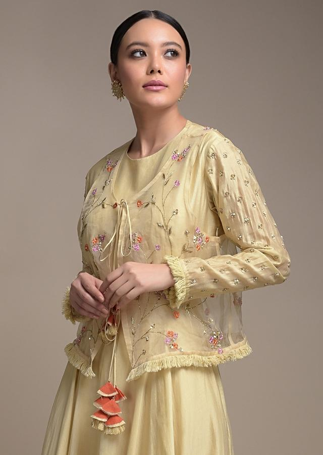 Sand Beige Anarkali Suit In Cotton And Matching Organza Jacket With Floral Embroidery Online - Kalki Fashion