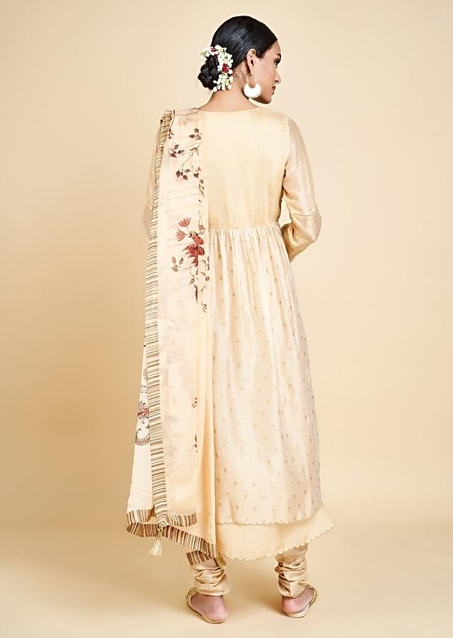 Sand Beige Anarkali Suit With Zari Embroidered And Foil Printed Buttis Online - Kalki Fashion