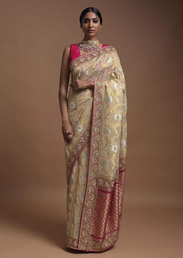 Sand Beige Banarasi Saree In Georgette With Golden And Silver Weaved Buttis And Weaved Magenta Border Online - Kalki Fashion