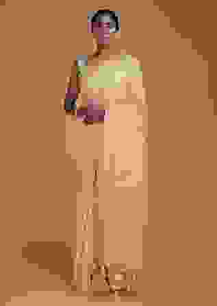 Sand Beige Banarasi Saree In Georgette With Weaved Diagonal Stripes  Online - Kalki Fashion