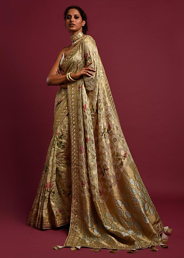 Sand Beige Banarasi Saree In Georgette With Weaved Floral Jaal All Over Online - Kalki Fashion