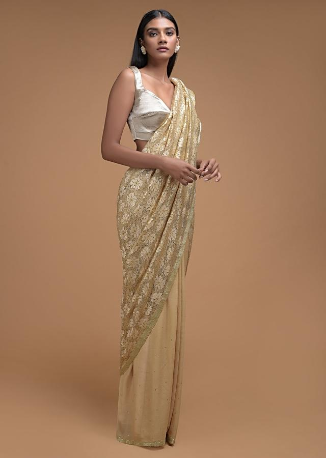 Sand Beige Half And Half Saree In Shimmer Georgette And Floral Lace With Kundan Buttis Online - Kalki Fashion
