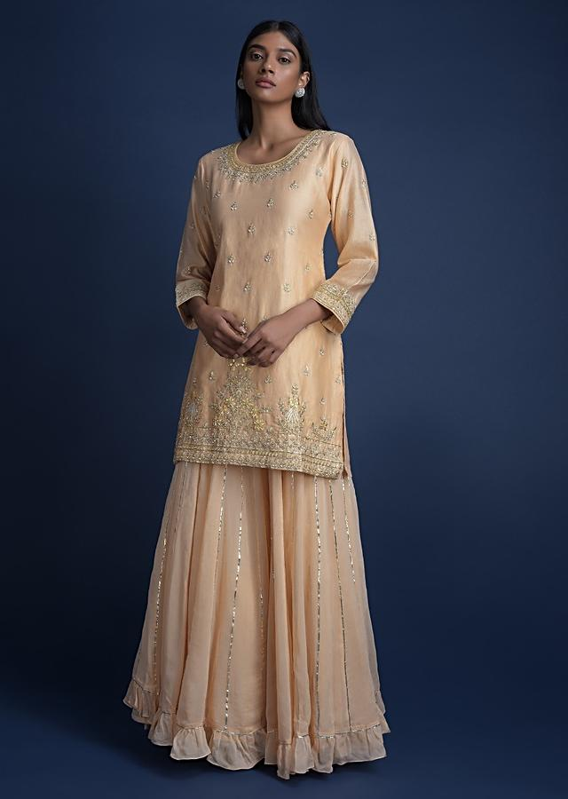 Sand Beige Lehenga And Kurta With Embroidered Buttis And Floral Pattern Online - Kalki Fashion