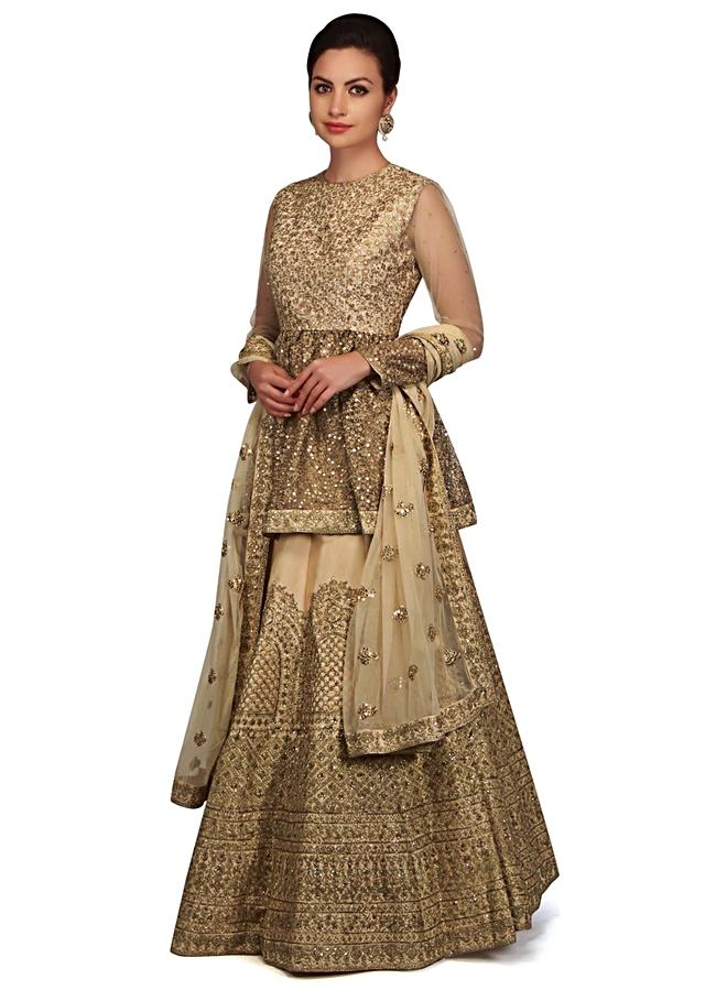 Sand beige lehenga with peplum top in sequin embroidery only on Kalki