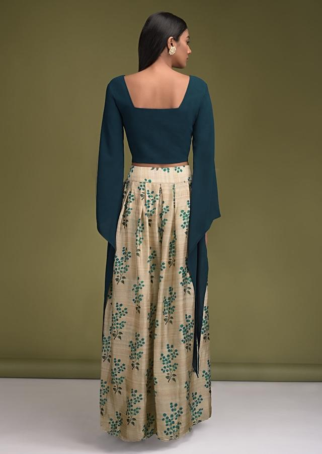 Sand Beige Palazzo Pants In Cotton Silk With Floral Printed Pleated Top Layer And Teal Crop Top Online - Kalki Fashion
