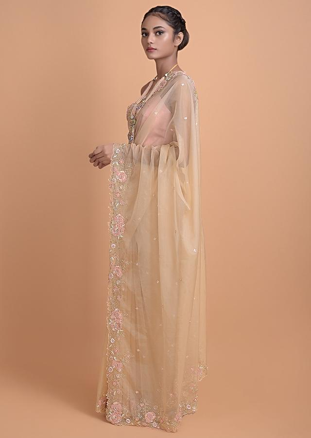 Sand Beige Saree In Organza Fabric With Floral Embroidered Border Online - Kalki Fashion