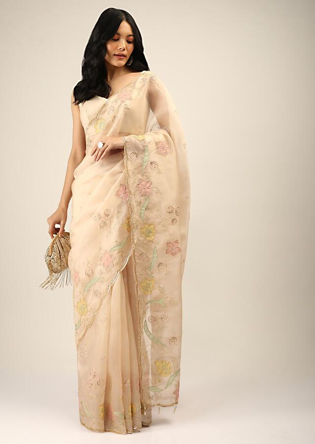Sand Beige Saree In Organza With Multi Colored Applique Flowers And Cut Dana Accents Online - Kalki Fashion