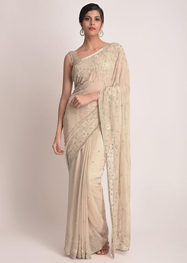 Sand Beige Saree In Shimmer Chiffon With Floral Embroidery Online - Kalki Fashion