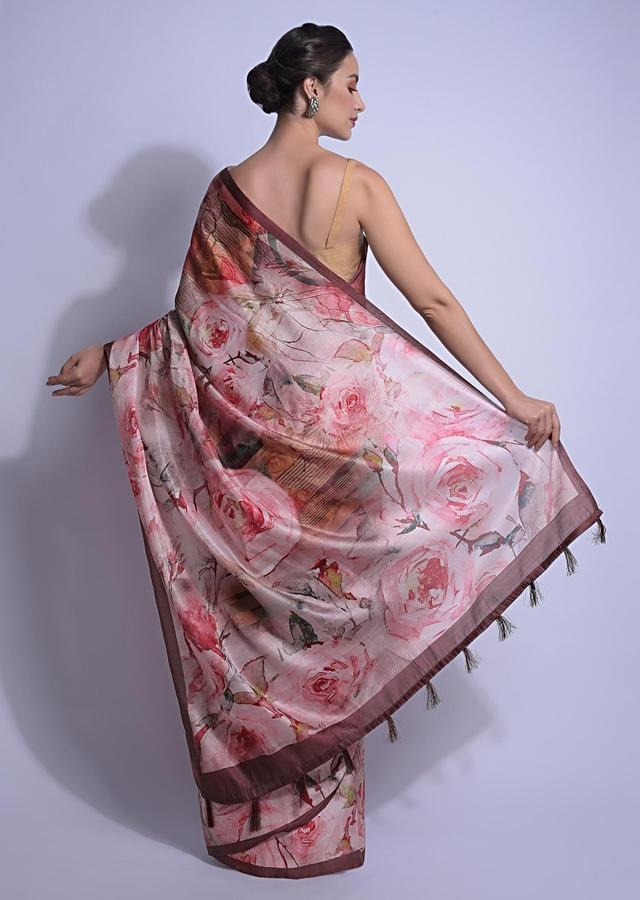 Sand Beige Saree In Silk With Multi Colored Print In Floral And Geometric Motifs Online - Kalki Fashion