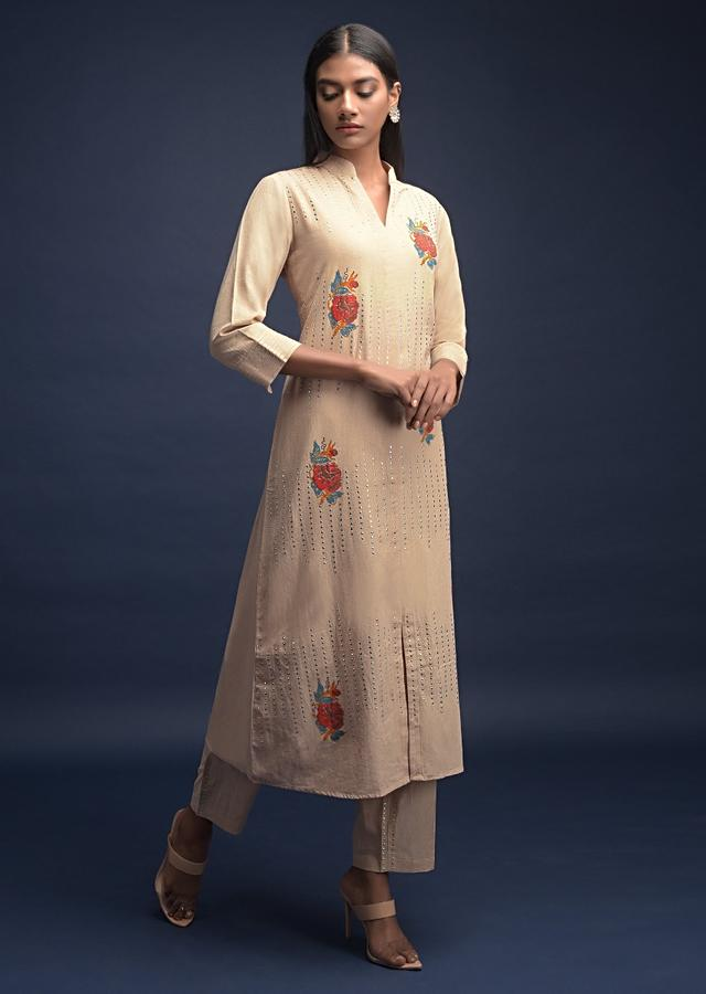 Sand Beige Straight Cut Suit In Jute Cotton With Block Printed Floral Motifs And Kundan Embellished Stripes Online - Kalki Fashion