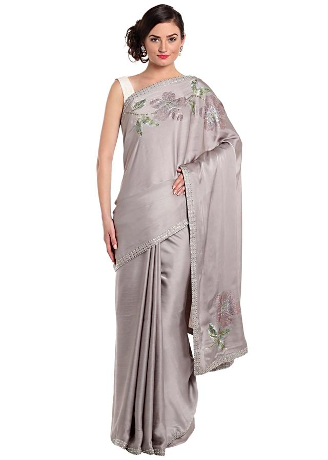 Sand Grey Saree With Kundan Embroidery In Floral Motif Online - Kalki Fashion