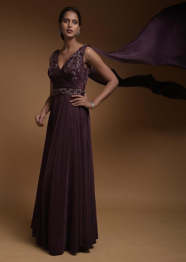 Sangria Purple Indowestern Gown In Crushed Lycra With Ruching On The Bodice And Floral Embroidery Online - Kalki Fashion