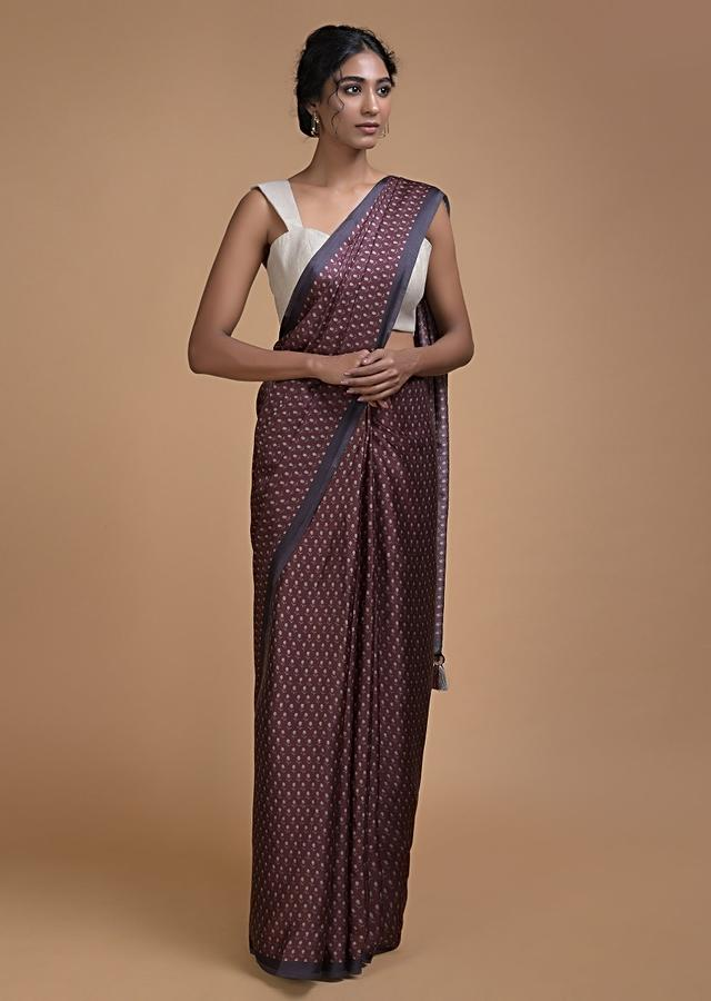 Sangria Purple Saree In Satin Blend With Printed Floral Buttis All Over Online - Kalki Fashion