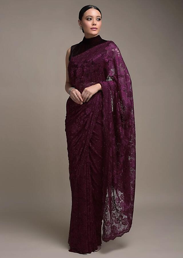 Sangria Purple Saree In Floral Lace With Kundan Work All Over Online - Kalki Fashion