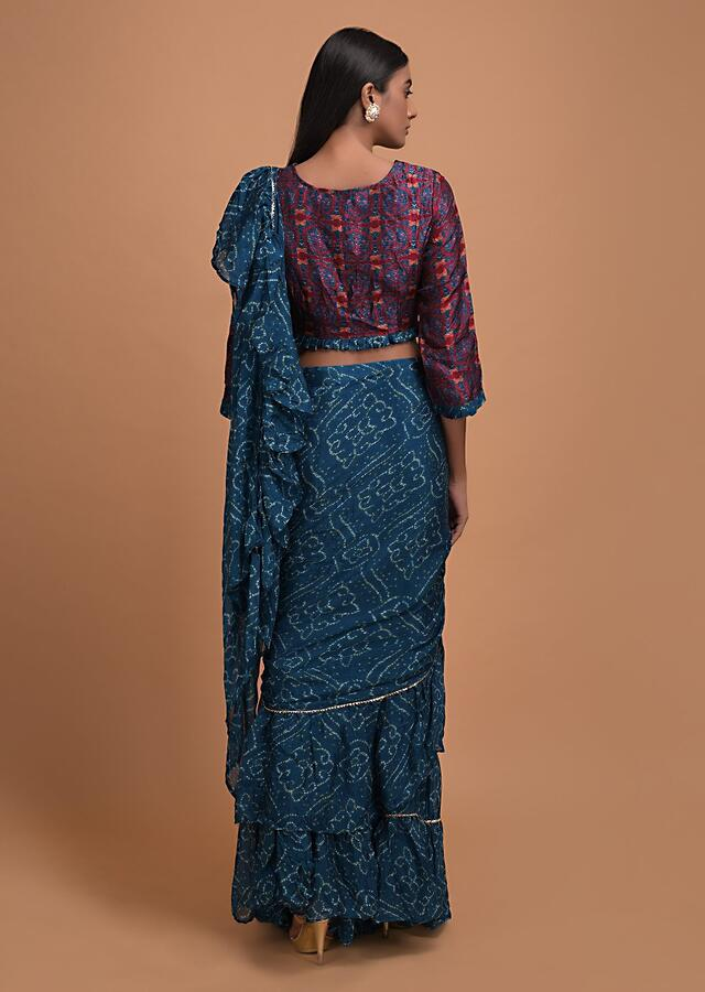 Sapphire Blue Ready Pleated Ruffle Saree In Georgette With Bandhani Print All Over Online - Kalki Fashion
