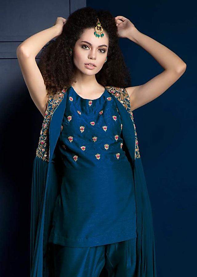Sapphire Blue Suit With Short Kurti, Cigarette Pants And Flared Jacket Adorned With Zardozi Work Online - Kalki Fashion