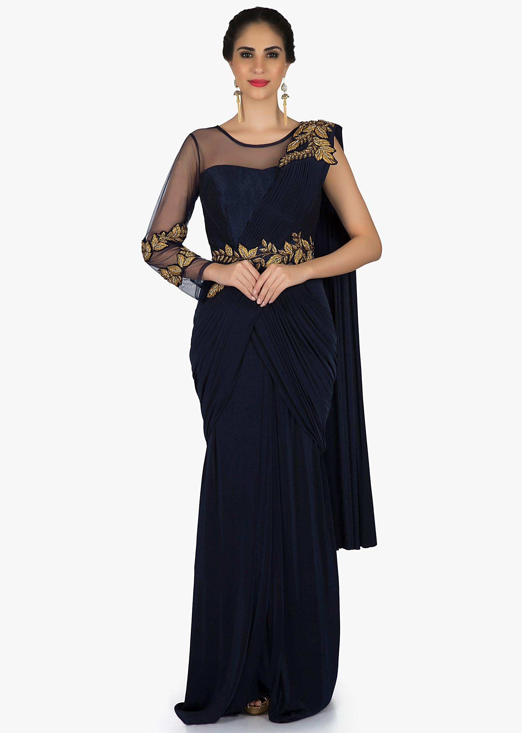 efc12293f08 Saree gown in navy blue with pre stitched pallav and gotta lace embroidery  only on KalkiMore Detail
