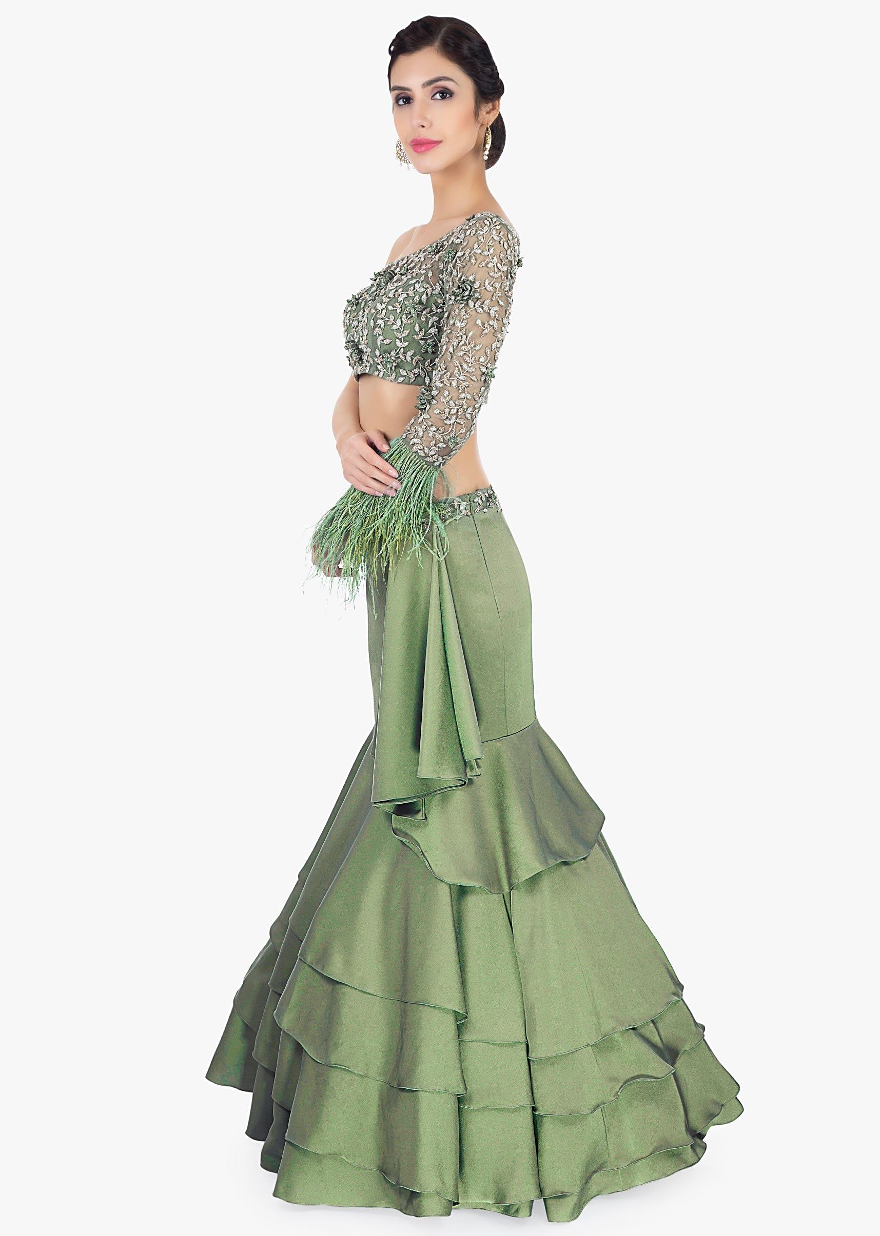 34b9e2befb Satin green fish tail layered skirt paired with one shoulder crop top only  on Kalki