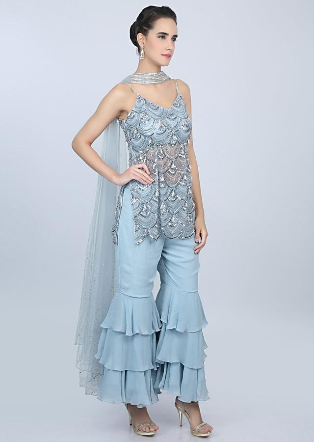 Single Strap Suit With Scallop Embroidery Teamed With Multiple Layered Matching Sharara Pant Online - Kalki Fashion