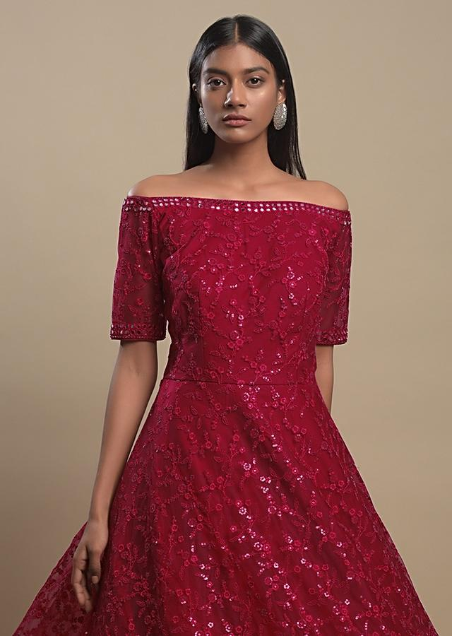 Scarlet Indowestern Gown In Net With Off Shoulder Neckline And Thread Work In Floral Jaal Online - Kalki Fashion
