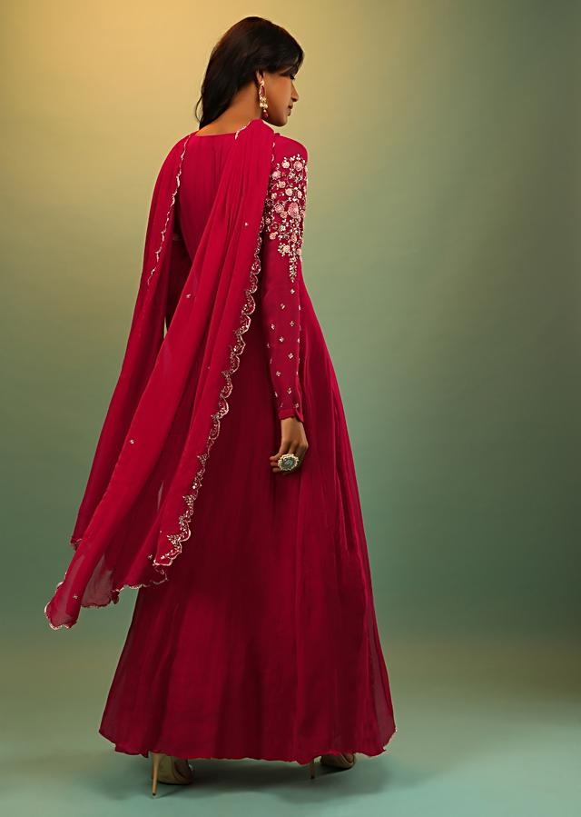 Scarlet Red Anarkali Suit In Georgette With Multi Colored Thread And Sequins Embroidered Floral Design On The Kalis Online - Kalki Fashion