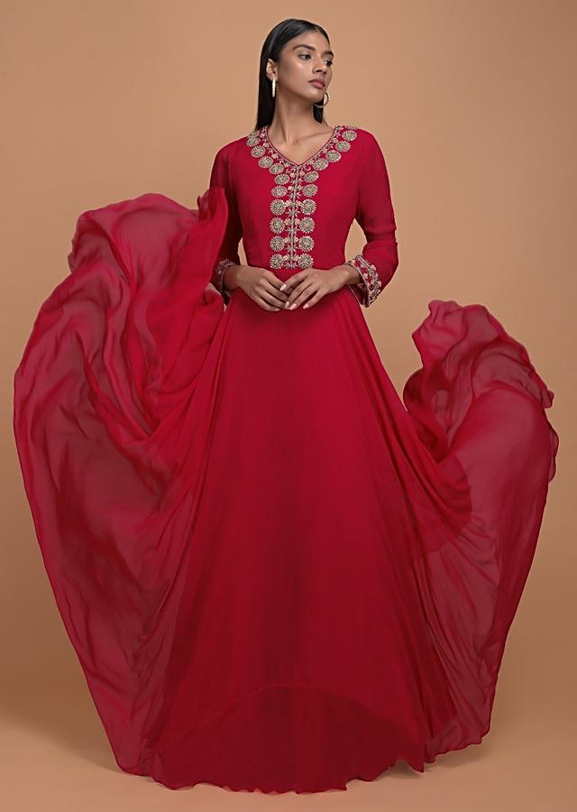 Scarlet Red Anarkali Suit With Pink And Red Shaded Bandhani Dupatta Online - Kalki Fashion