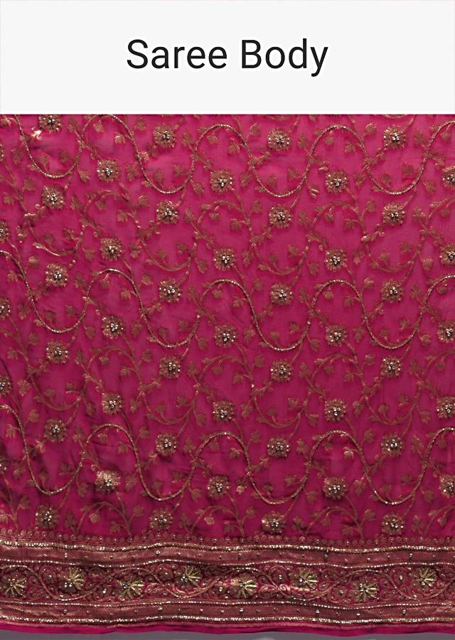 Scarlet Red And Magenta Ombre Banarasi Saree In Georgette With Weaved Floral Jaal And Stone Work Online - Kalki Fashion
