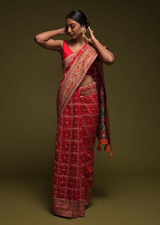 Scarlet Red Banarasi Saree In Georgette With Colorful Woven Floral Border And Checks Design Online - Kalki Fashion