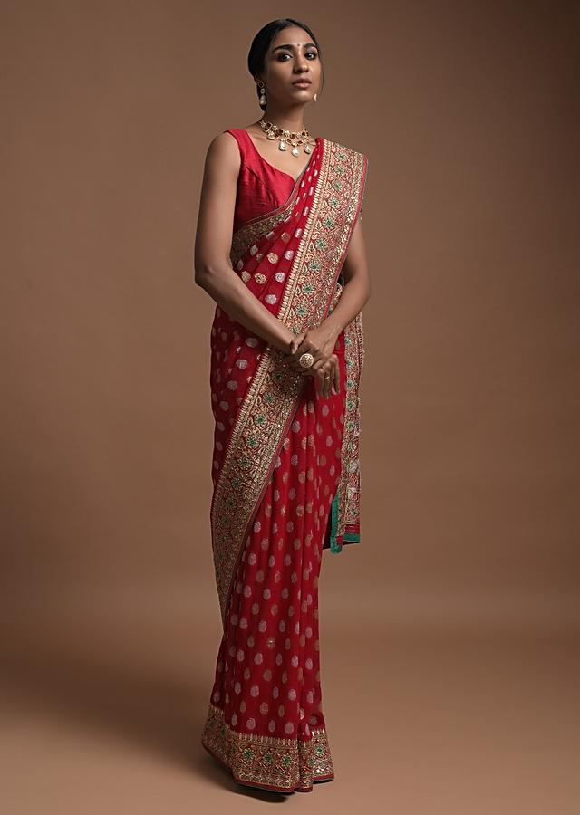 Scarlet Red Banarasi Saree In Georgette With Weaved Buttis And Floral Pattern On The Pallu Online - Kalki Fashion