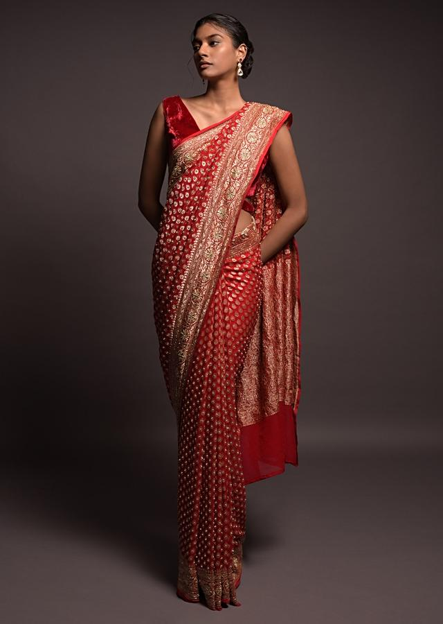 Scarlet Red Banarasi Saree In Georgette With Weaved Buttis And Stone Work Online - Kalki Fashion