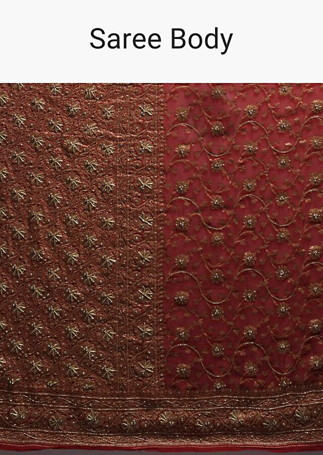 Scarlet Red Banarasi Saree In Georgette With Weaved Floral Jaal And Stone Work Online - Kalki Fashion