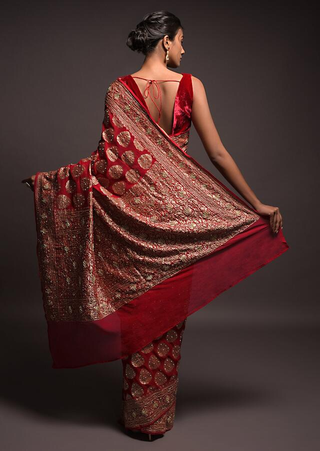 Scarlet Red Banarasi Saree In Georgette With Weaved Leaf Shaped Buttis And Stone Work Online - Kalki Fashion