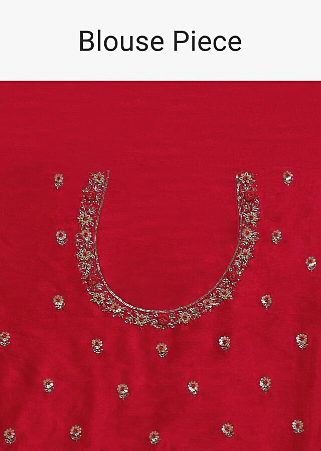 Scarlet Red Banarasi Saree In Georgette With Weaved Paisley Jaal And Thread Embroidered Border Online - Kalki Fashion