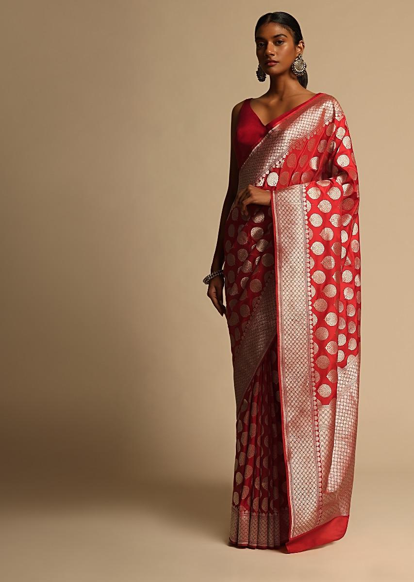 Scarlet Red Banarasi Saree In Pure Handloom Silk With Woven Floral Buttis And Mesh Border Along With Unstitched Blouse Piece Online - Kalki Fashion
