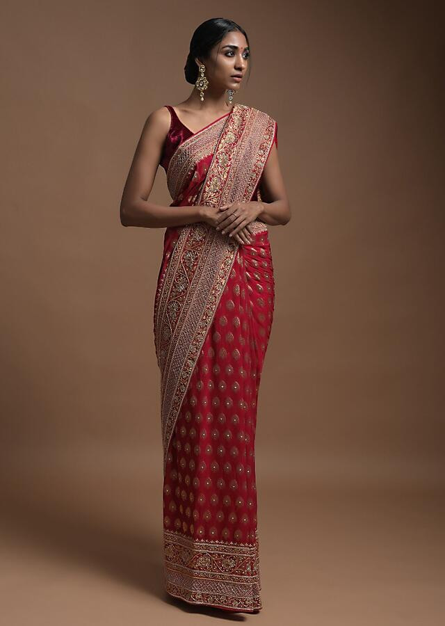 Scarlet Red Banarsi Saree In Georgette With Weaved Floral Mesh And Floral Jaal On The Pallu Online - Kalki Fashion