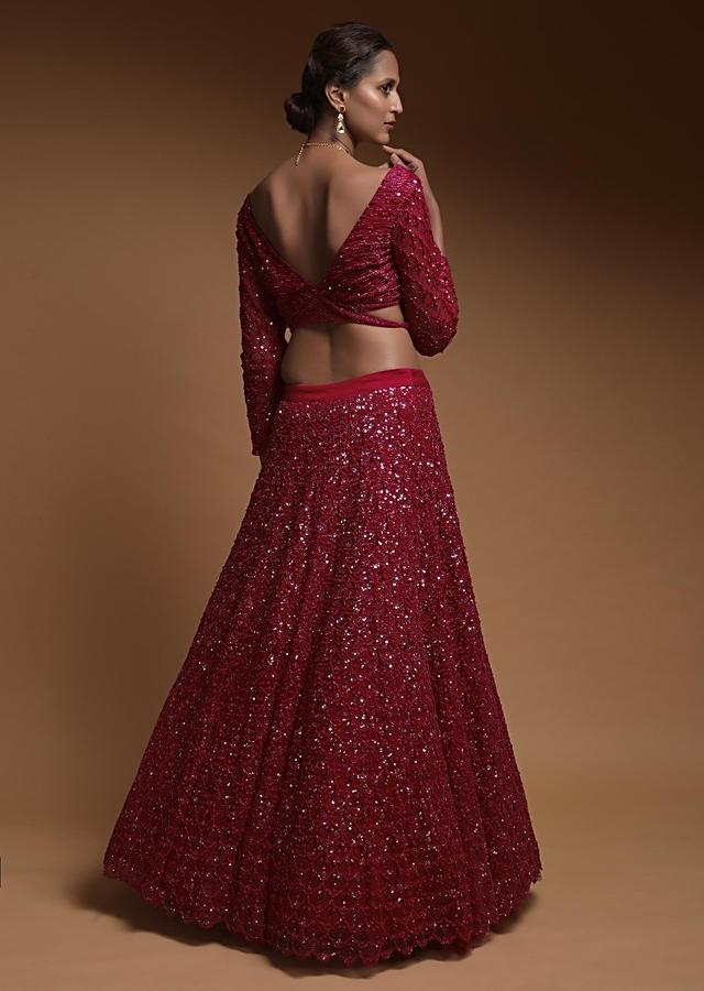 Scarlet Red Lehenga Choli In Net With Cut Dana And Sequins Work In Moroccan Pattern Online - Kalki Fashion