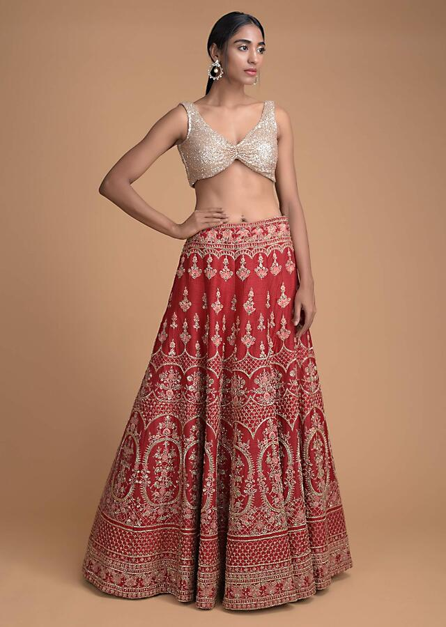 Scarlet Red Lehenga Choli In Raw Silk With Embroidered Floral And Scallop Pattern Online - Kalki Fashion