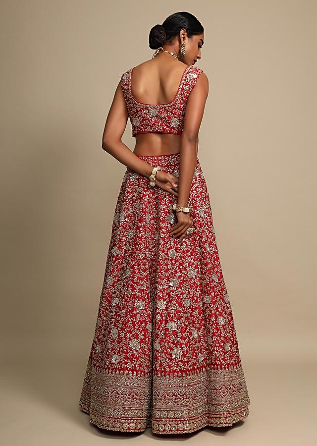 Scarlet Red Lehenga Choli In Raw Silk With Zari And French Knots Embroidered Floral Jaal Online - Kalki Fashion