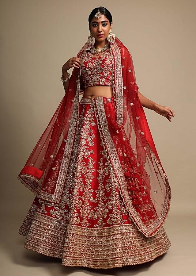 Scarlet Red Lehenga Choli In Raw Silk With Zari Embroidered Feminine Floral Kalis Online - Kalki Fashion