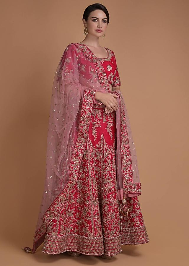Scarlet Red Lehenga Choli With Floral Jaal Embroidery And Blush Pink Dupatta Online - Kalki Fashion